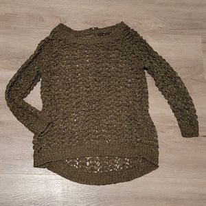 Open Weave Olive 3/4 Sleeve Sweater from England